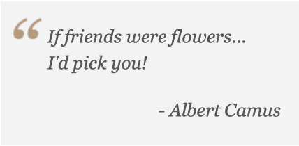 If friends were flowers, I'd pick you- Albert Camus